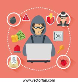 Internet security design. System icon. Colorful illustration , vector