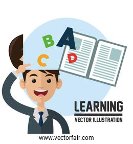 learning vector. Colorfull illustration. book icon