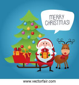 Merry Christmas concept with santa and deer  icon. vector graphi