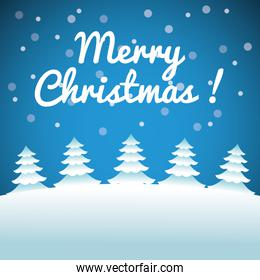 Merry Christmas concept with set of pine trees. vector graphic