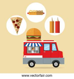 Delicius food. Truck icon. Delivery concept. graphic vector