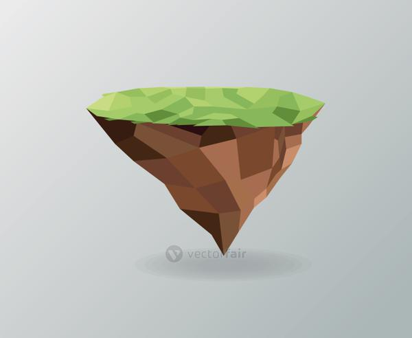 Piece of earth. Polygonal image. vector graphic