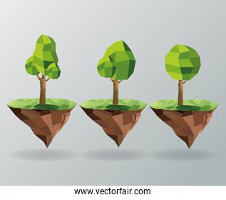 tree and earth icon. Polygonal image. vector graphic