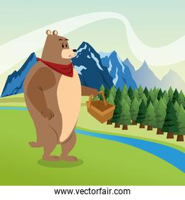 Bear icon. Landscape background. Vector graphic