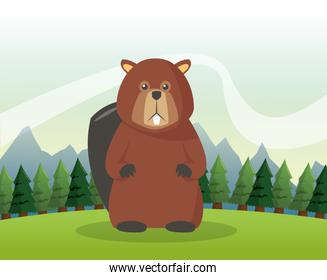 Beaver icon. forest background. Vector graphic