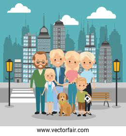 Parents, grandparents and kids icon. Family design