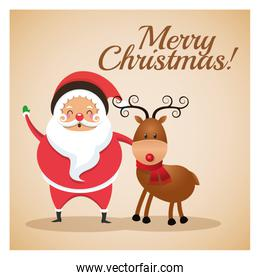 santa and reindeer icon. Merry Christmas illustration. Vector graphic