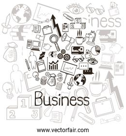 Business and icon set. Business. Vector graphic