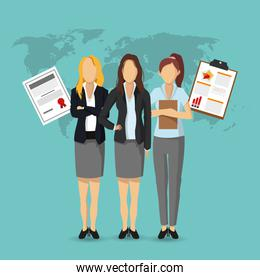 businesswoman document human resources icon. Vector graphic