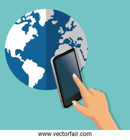 smartphone global communication earth planet icon. Vector graphi