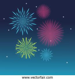 firework celebration explosion night icon.  Vector graphic