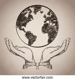 hand planet earth business icon, Vector illustration