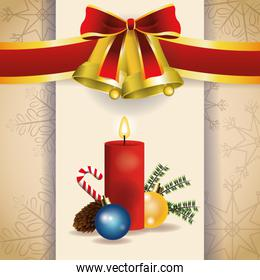 bell candle merry christmas celebration design