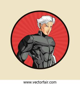 Superhero man cartoon design
