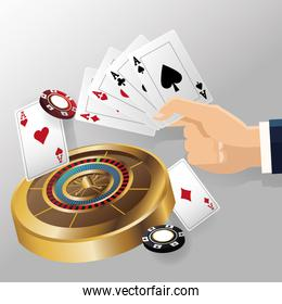 cards of poker roulette and chips design
