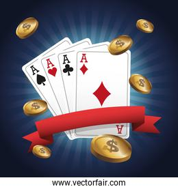 Cards of Poker and coins design