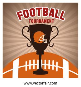 Helmet ball and trophy of american football design
