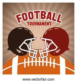 Helmet and ball of american football banner