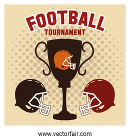 Helmet and trophy of american football design