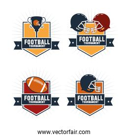 Ball helmet and trophy of american football design