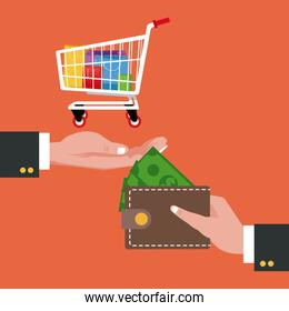 Cart wallet and shopping design