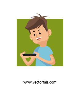 cartoon boy playing video game with smartphone green square