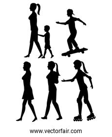 collection silhouette person walk and skate roller