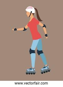 Woman walking with roller skates and protection