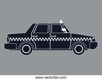 silhouette taxi car side view