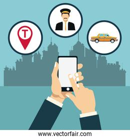 taxi service online app city background