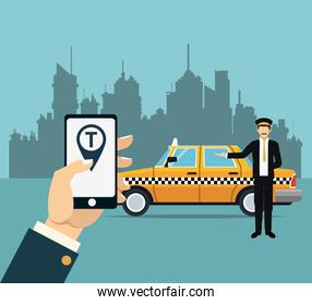 driver taxi service online app city background