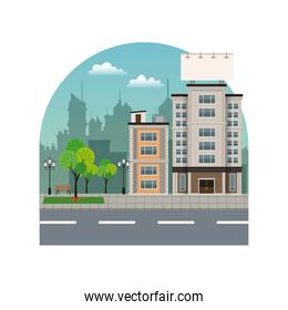 building city with large blank urban billboard silhouette landscape
