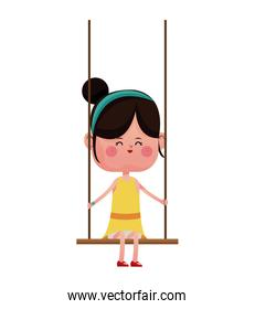 girl with yellow dress playing swing