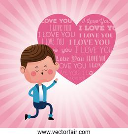 boy on knee with pink heart i love you pink background