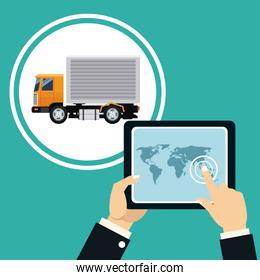hand touch table map truck transport delivery concept