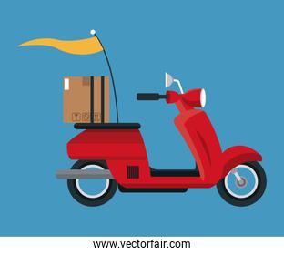 delivery concept red motorcycle cardboard box