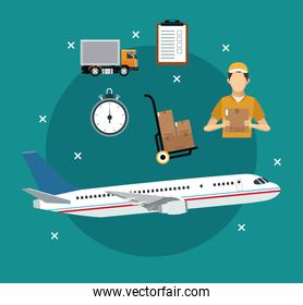 airplane transport items international delivery concept