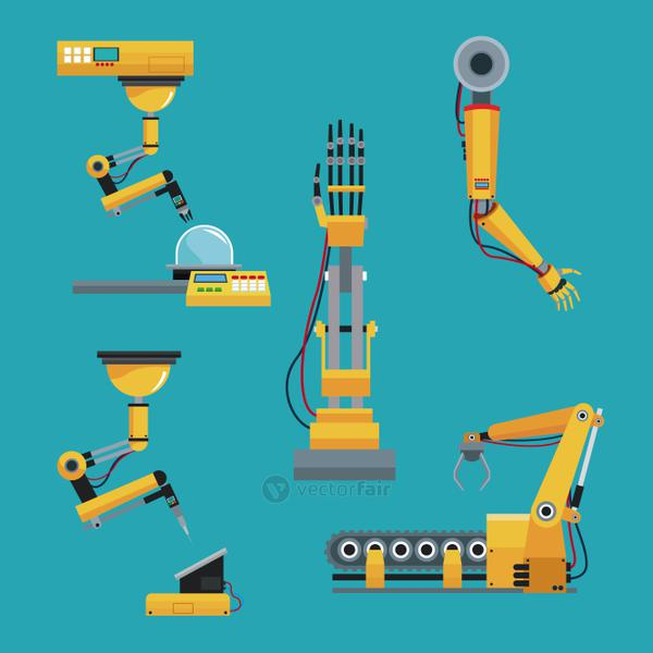 collection robotic industrial equipment green background