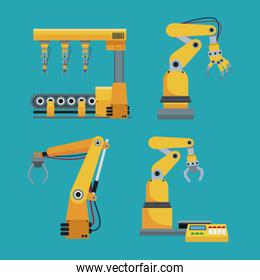 collection automated robotic industrial equipment green background