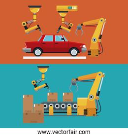 automated production line robotic factory banner