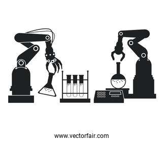 silhouette industrial robotic arm chemical test tube laboratory