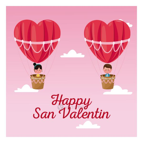 happy san valentine boy and girl flying heart airballoon valentine day pink sky