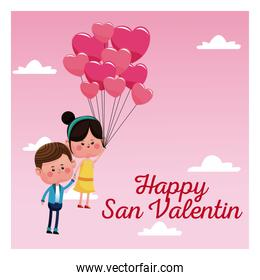 happy san valentine card couple branch balloons pink sky