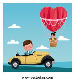 boy driver classic car girl flying heart airballoon valentine day