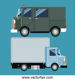 set truck delivery cargo mail