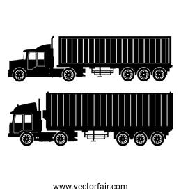 collection silhouette truck trailer container delivery transport