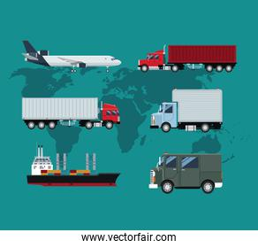 collection truck plane ship delivery shipping transportation world