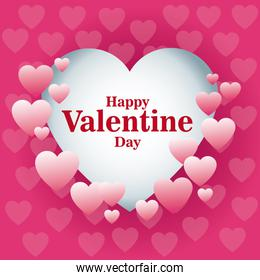 beautiful card happy valentines day frame heart pink background