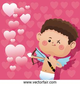 cute little cupid valentine day shooting bow