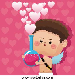 cute little cupid valentine day love potion pink hearts